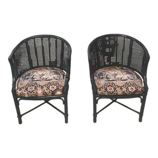 Blue Faux Bamboo Chairs - A Pair