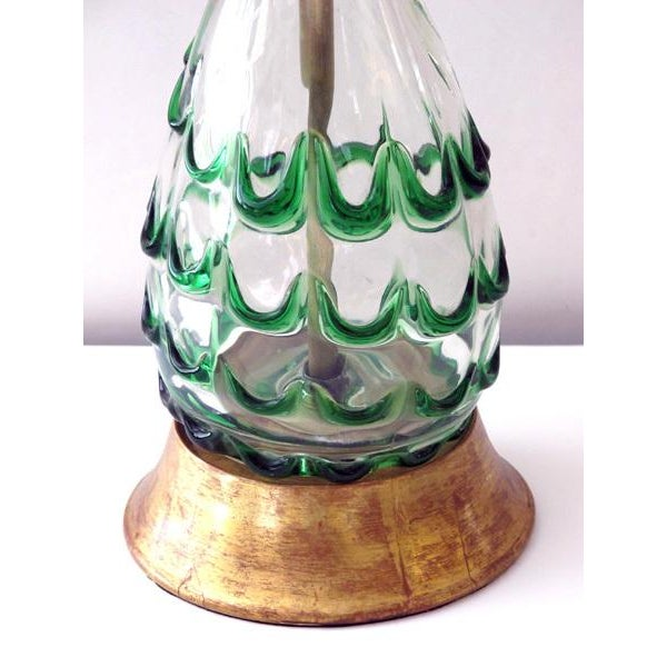 A Pair of Murano Clear Bottle Form Lamps w/Raised Green Swirls - Image 3 of 3