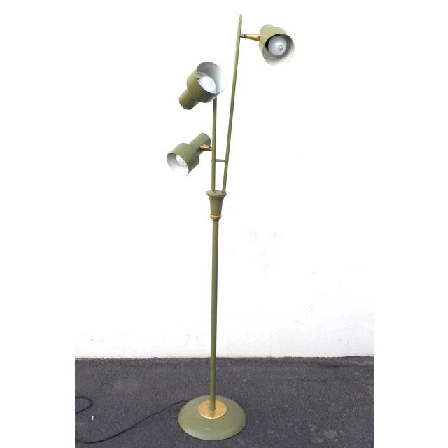 Mid Century Modern Green 3 Headed Floor Lamp - Image 2 of 4