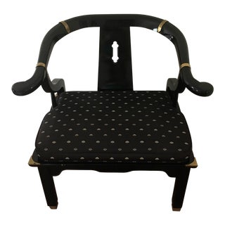 Vintage James Mont Style Asian Lacquer Horseshoe Armchair