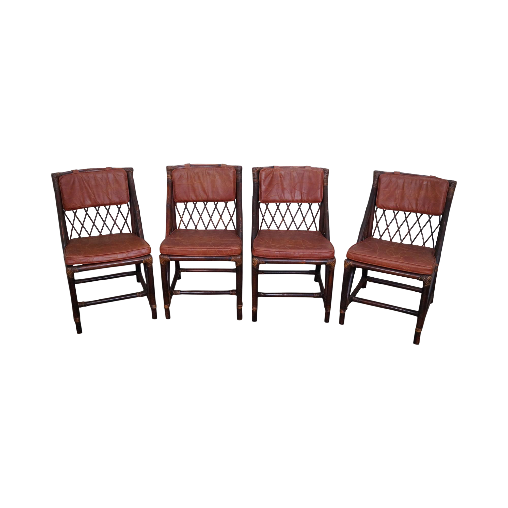 Mid Century Rattan Dining Chairs Set of 4