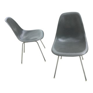 Eames for Herman Miller Elephant Gray Shell Chairs - A Pair