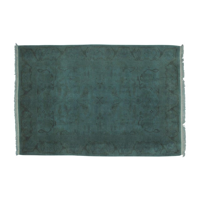 "Leon Banilivi Over-Dyed Green Wool Rug - 6' X 4'3"" - Image 1 of 5"