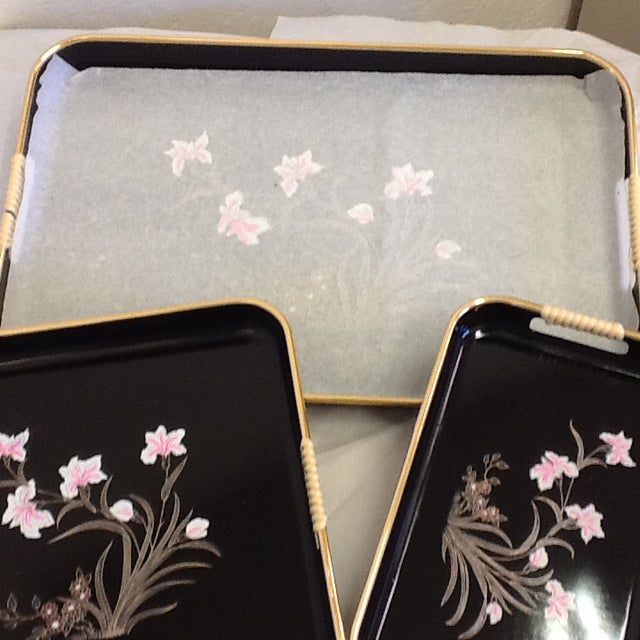3 Mid-Mod Lacquerware Hand Decorated Trays-Unused - Image 6 of 7