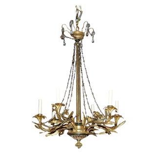 French Gilt Bronze & Wood Chandelier