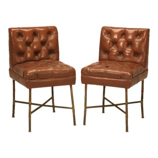 French Leather Chairs in the style of Jacques Adnet, circa 1940s