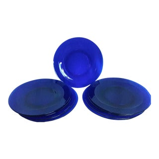 Vintage Cobalt Blue Glass Charger Plates - Set of 9