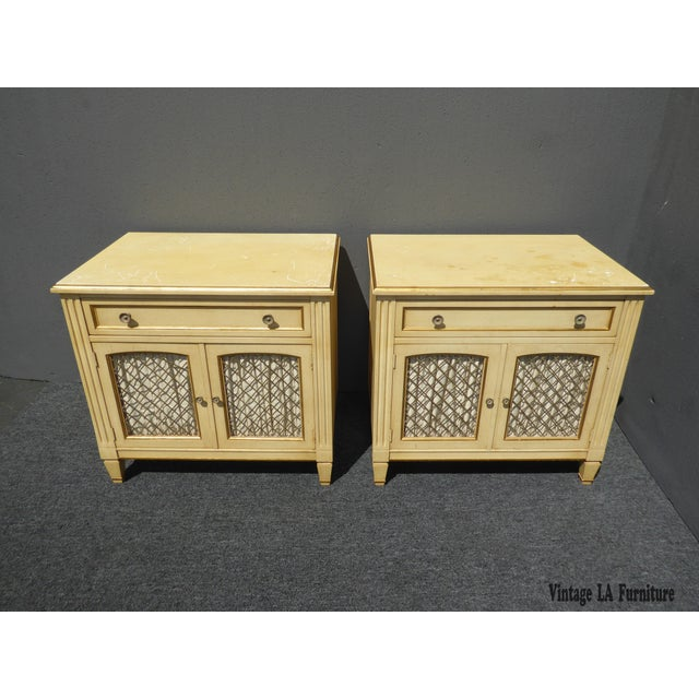 Image of Vintage Kindel French Country Cottage Cream Nightstands - A Pair