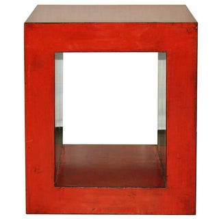 Red-Orange Contemporary Open Side Table