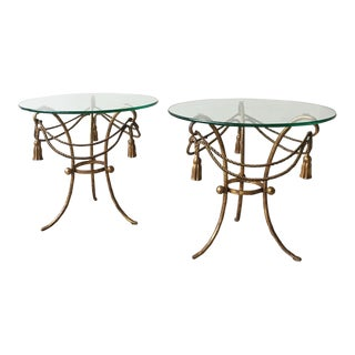 Italian Mid-Century Gilt Metal Tassel Tables - a Pair