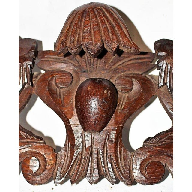 French Antique Oak Lion Cartouche - Image 6 of 8