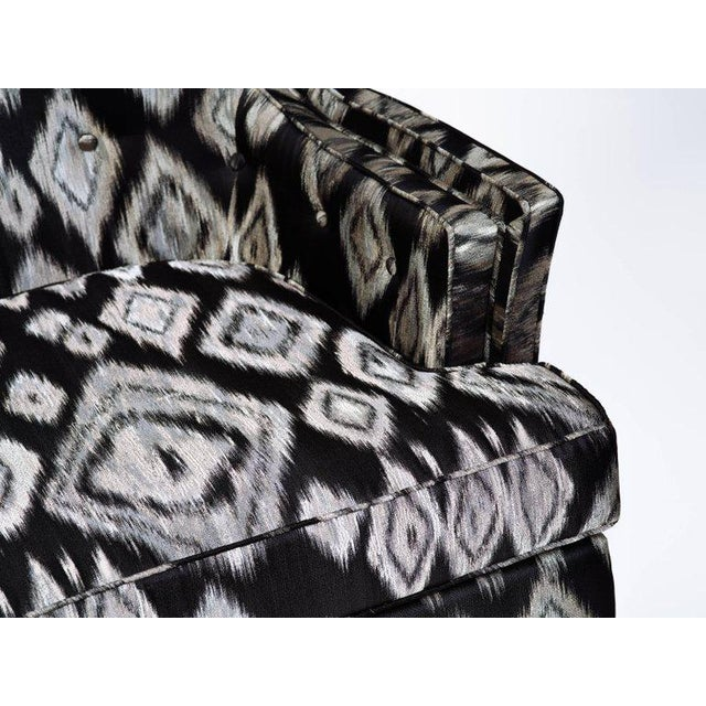 Pair of Hollywood Regency Lounge Chairs in Graphic Ikat Silk - Image 7 of 9