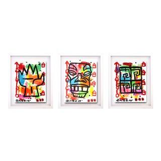 """Tiki Triptych"" One-Of-A-Kind Original Framend Artworks by Gary John - Set of 3"