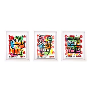 """Tiki Triptych"" One-Of-A-Kind Original Framend Artworks by Gary John - Set of 3"
