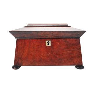 19th Century English Carved Mahogany Tea Caddy