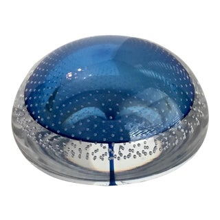 Murano Glass Royal Blue Bullicante Paperweight