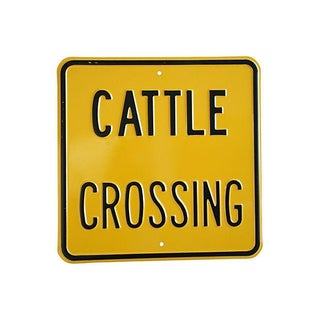 Vintage Heavy Embossed Metal Cattle Crossing Sign