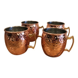 Moscow Mule Hammered Copper 18-Ounce Drinking Mugs - Set of 4