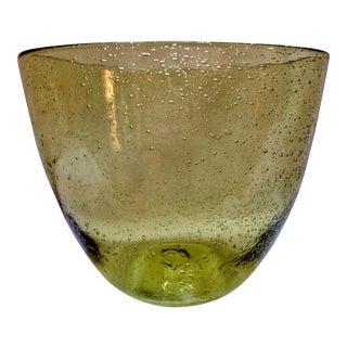 Handblown Green Bubble Glass Bowl