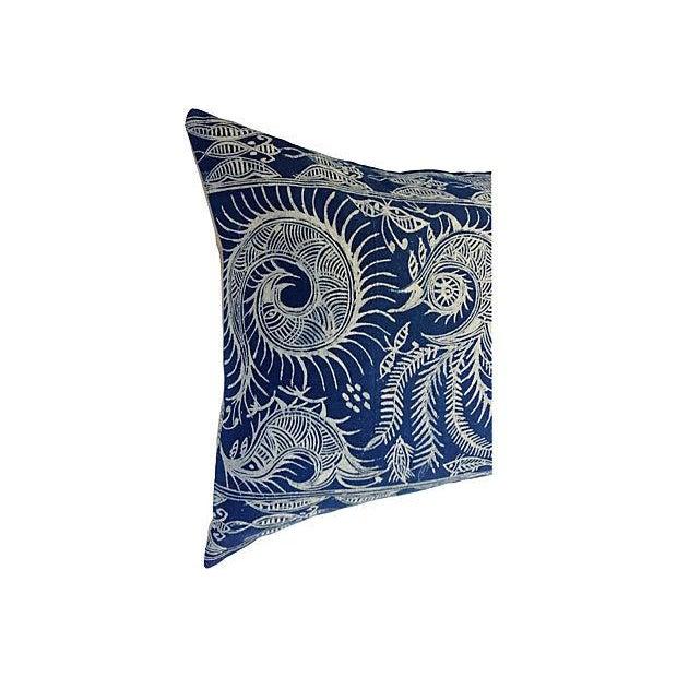 Serpent Indigo Batik Fringe Pillow - Image 3 of 5