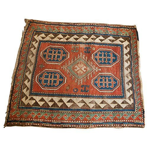 "Square Tribal Rug - 3'4"" x 3'7"" - Image 1 of 2"