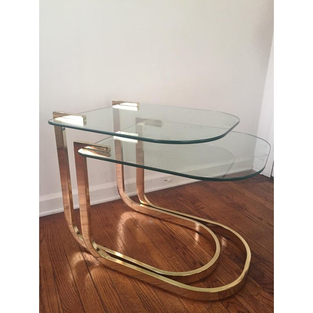 Milo Baughman Cantilevered Brass Nesting Tables - Image 2 of 10