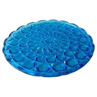 Vintage Blue Glass Diamond Serving Platter