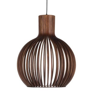 Wooden Slat Drum Pendant