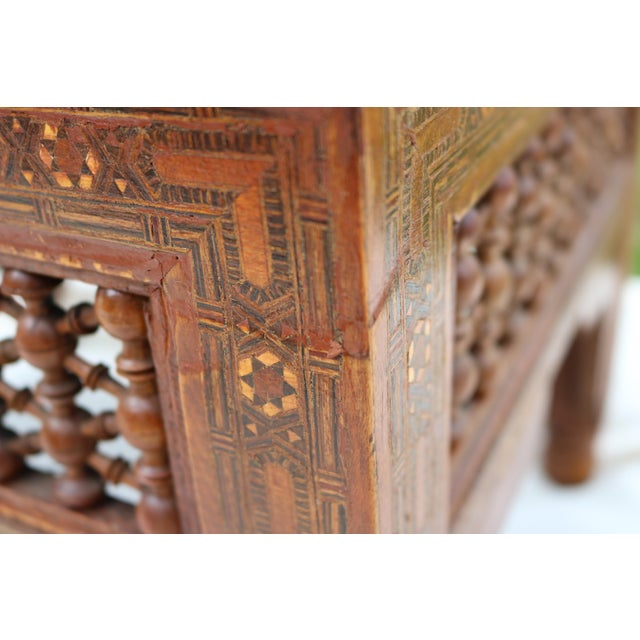 Antique Syrian Moorish Style Inlaid Settee & Tables - Set of 3 - Image 9 of 11