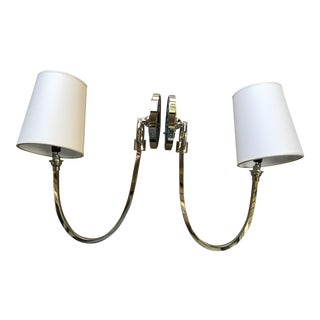 Reed Polished Nickel Sconces - A Pair