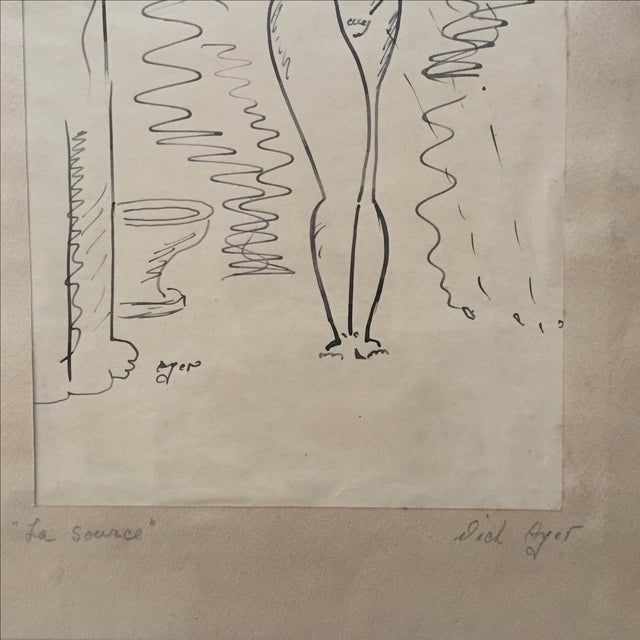 Richard Ayer Vintage 'La Source' Drawing - Image 4 of 4