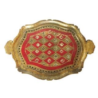 Vintage Florentine Italian Wood Gold Leaf & Red Paint Tray