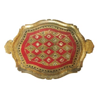 Vintage Florentine Italian Wood Gold Leaf & Red Paint Tray