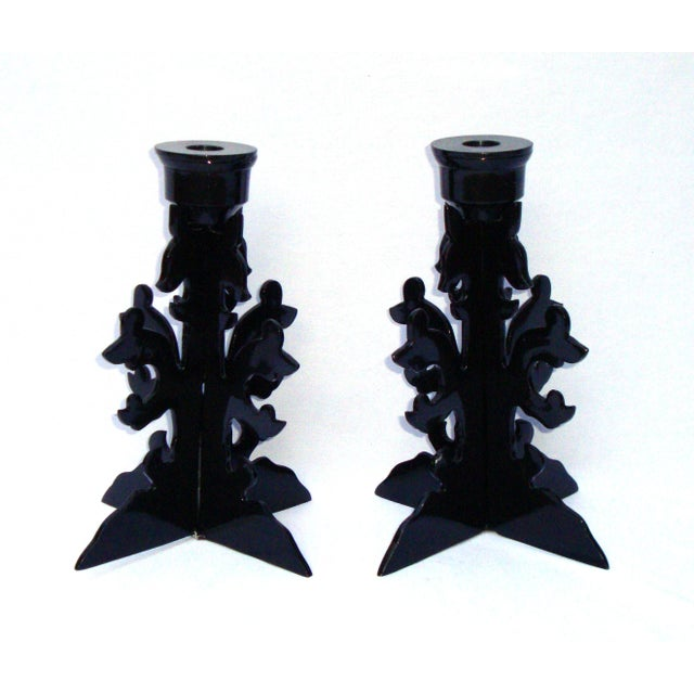 Modern Goth Black Metal Candle Holders - Image 8 of 10