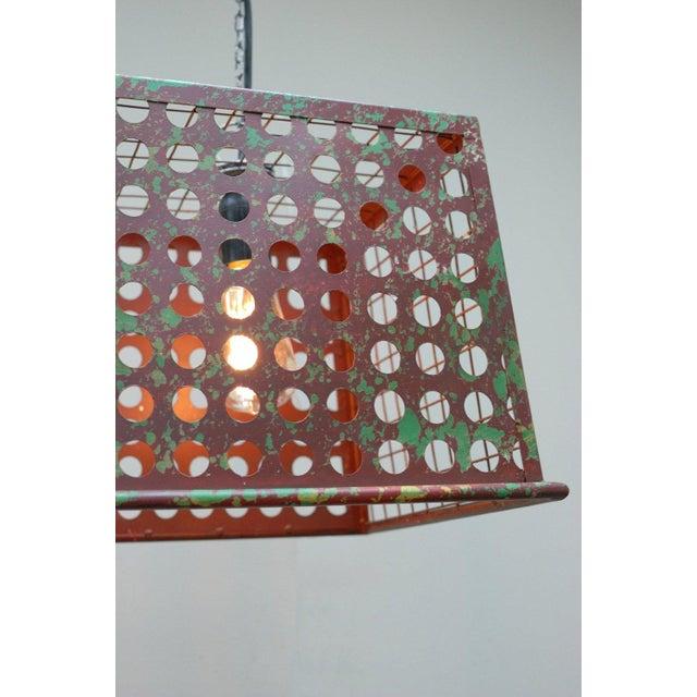 Image of Vintage Barn Metal Pendant Hanging Light - Red