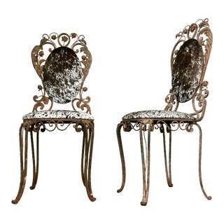 Iron Garden Chairs in Brazilian Cowhide - Pair