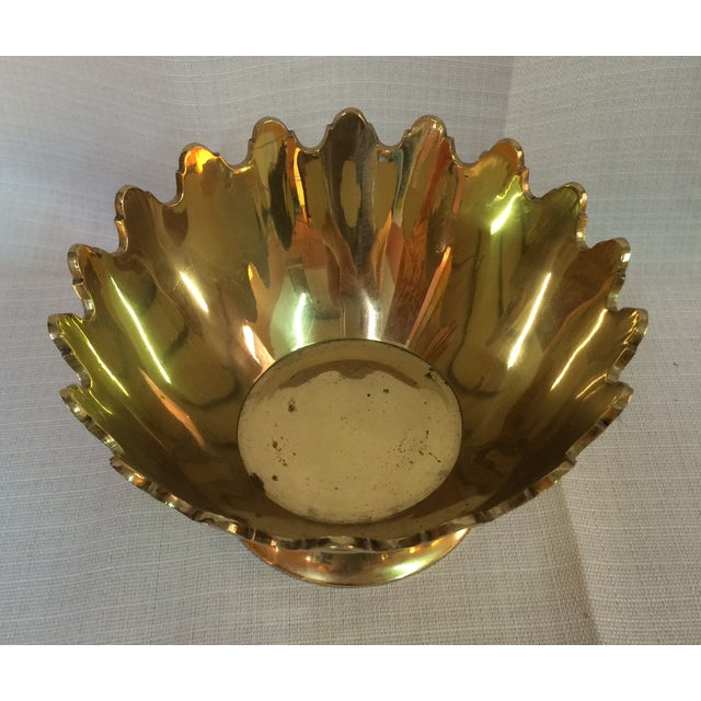Footed Scalloped Brass Bowl - Image 4 of 4