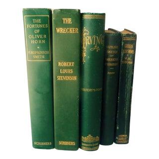 Edwardian Era Green & Gold Books - Set of 5