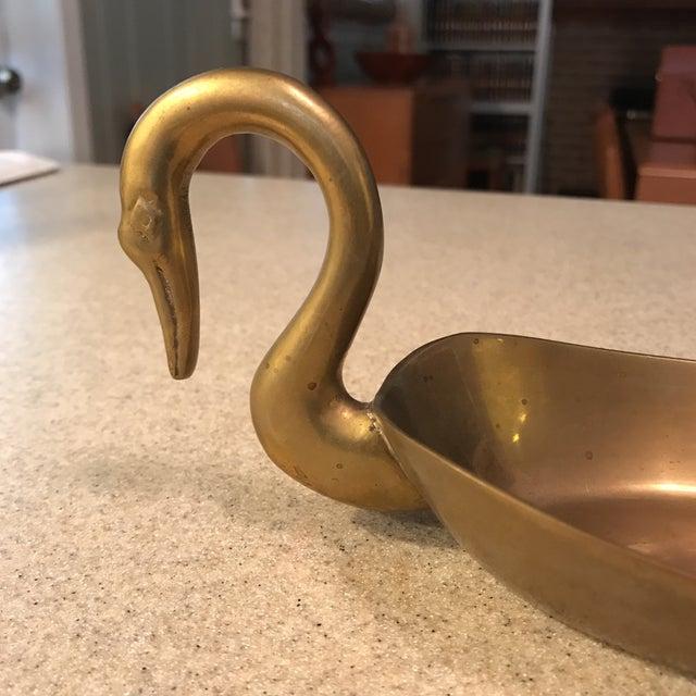Image of Mid-Century Brass Swan Bowl