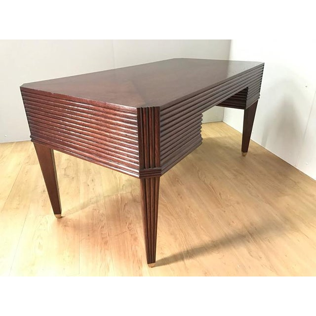 French Modern Brass and Wood Bureau Plat - Image 3 of 9