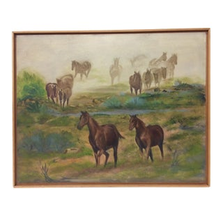 Wild Horses in a Dust Storm Oil Painting