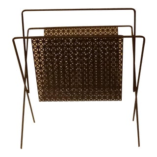 Black Metal and Mesh Magazine Rack