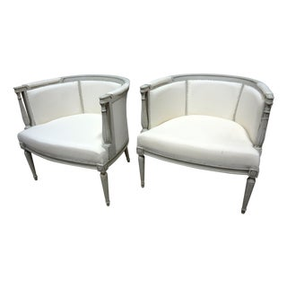 Swedish Style Gustavian Barrel Chairs
