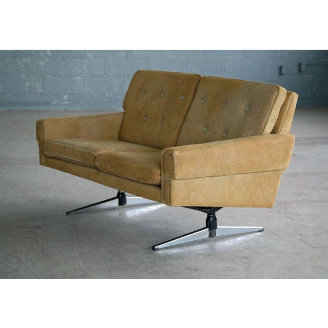 Svend Skipper Attributed Airport-Style Suede Two-Seat Sofa or Settee - Image 7 of 7