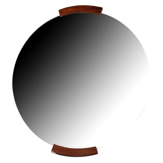 Circular Wall Mirror with Pallisandre Accents, French, 1930s
