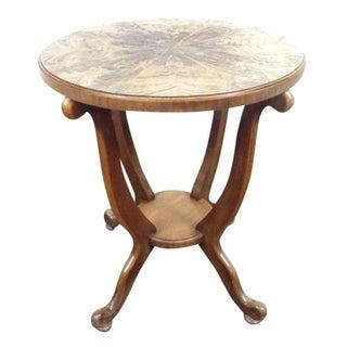 Walnut & Burlwood Round Top Side Table