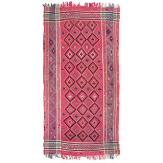 Vintage Bubblegum Pink Kilim Breadcloth | Tapestry
