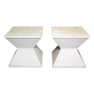 1970s Parchment-Top Wooden Side Tables - A Pair