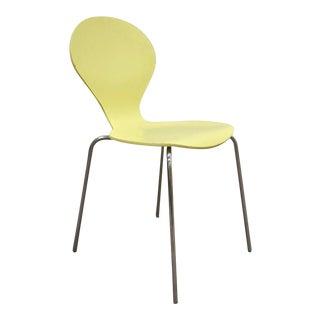 Danerka Rondo Mid Century Modern Danish Yellow Bentwood Chrome Side Chair