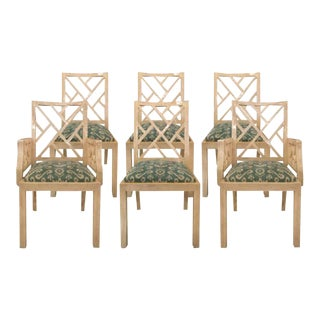 Vintage Bone Tiled Dining Chairs - Set of 6